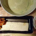 夜ご飯に湯葉と野菜スープ+昼間飲んだソイラテ。